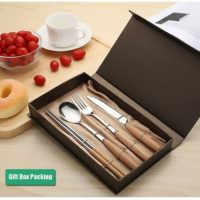 Dinnerware Set ,Stainless Steel Flatware Set of 4,Wooden Handle Fork Spoons Knife Chopsticks Tableware, GiftBox Packing ,Chinese Chopsticks for Friend Family Teacher